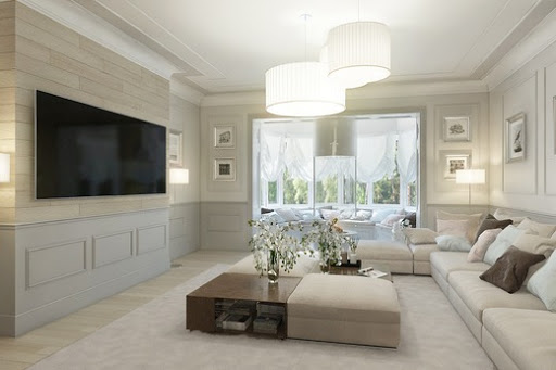 Американський стиль в інтер'єрі вітальні з диванної зоною
