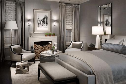 Спальня в американском стиле с камином